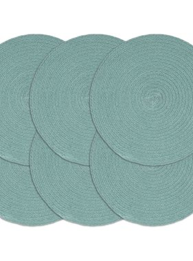 vidaXL Placemats 6 st rond 38 cm katoen effen groen