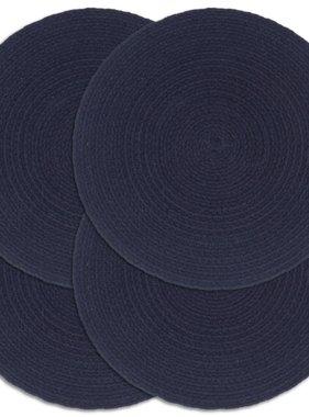 vidaXL Placemats 4 st rond 38 cm katoen effen marineblauw