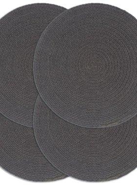 vidaXL Placemats 4 st rond 38 cm katoen effen donkergrijs
