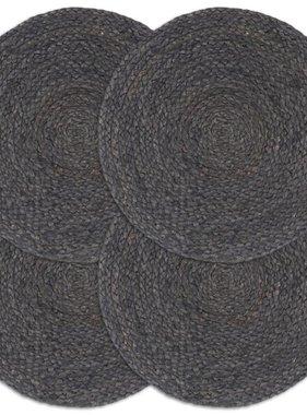 vidaXL Placemats 4 st rond 38 cm jute donkergrijs