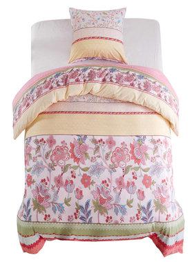 vidaXL Dekbedovertrekset bloemen/gestreept 155x200/80x80 cm roze 2-dlg