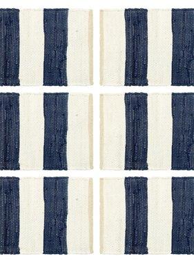 vidaXL Placemats 6 st chindi gestreept 30x45 cm blauw en wit