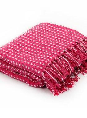 vidaXL Plaid vierkanten 160x210 cm katoen roze