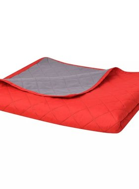 vidaXL Dubbelzijdige quilt bedsprei rood en grijs 170x210 cm