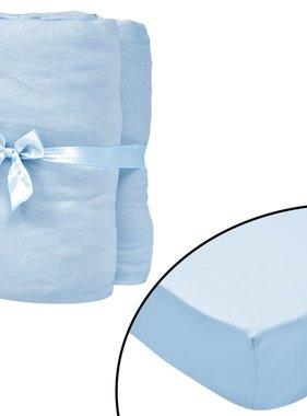 vidaXL Hoeslaken wiegje 70x140cm katoenen jersey stof lichtblauw 4 st