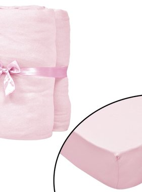vidaXL Hoeslakens voor wiegjes 70x140cm katoenen jersey stof roze 4 st