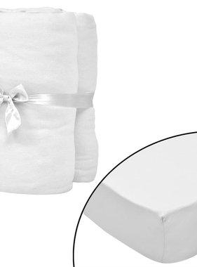vidaXL Hoeslakens voor wiegjes 60x120 cm katoenen jersey stof wit 4 st