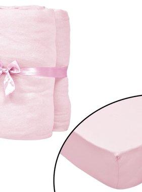 vidaXL Hoeslakens voor wiegjes 40x80 cm katoenen jersey stof roze 4 st