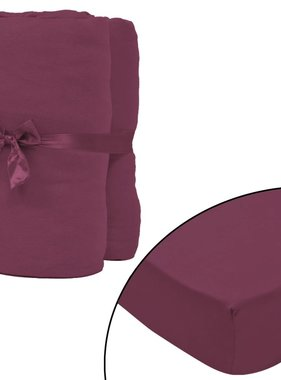 vidaXL hoeslaken 2 st katoen jersey 160 g/m2 140x200-160x200 cm rood