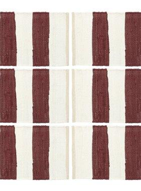 vidaXL Placemats 6 st chindi gestreept 30x45 cm bordeauxrood en wit