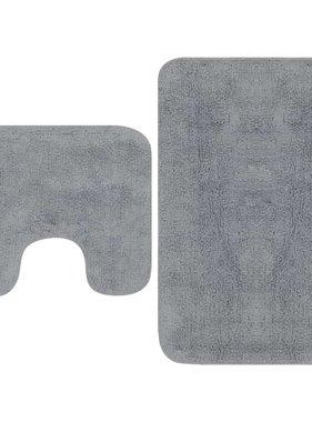 vidaXL Badmattenset stof grijs 2-delig