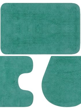 vidaXL Badmattenset stof turquoise 3-delig
