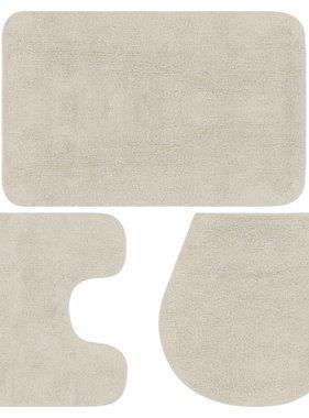 vidaXL Badmattenset stof wit 3-delig