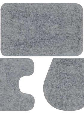 vidaXL Badmattenset stof grijs 3-delig