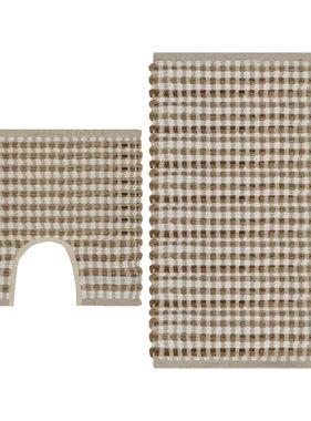 vidaXL Badmattenset handgeweven jute en stof naturel en wit