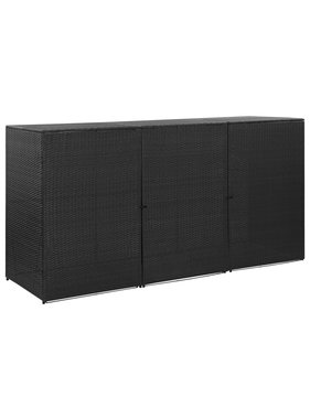 vidaXL Containerberging driedubbel 229x78x120 cm poly rattan zwart