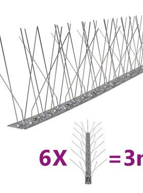 vidaXL Vogel- en duivenpinnen roestvrij staal 5 rijen set van 6