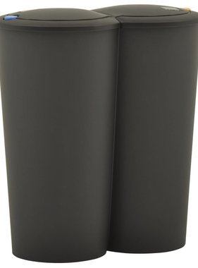 vidaXL Prullenbak dubbel 50 L zwart