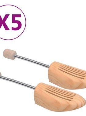 vidaXL Schoenspanners 5 paar maat 38-39 massief grenenhout
