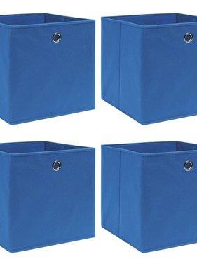 vidaXL Opbergboxen 4 st 32x32x32 cm stof blauw