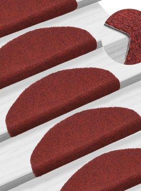 vidaXL Trapmatten zelfklevend 65x21x4 cm naaldvilt rood 15 st
