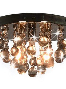 vidaXL Plafondlamp met smoky kralen rond G9 zwart