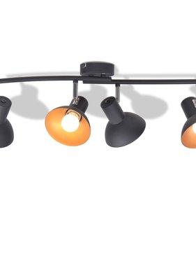 vidaXL Plafondlamp voor 4 peertjes E27 zwart en goud