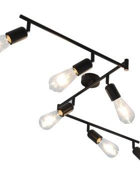 vidaXL Spotlight 6-voudig met filament peren 2 W E27 30 cm zwart