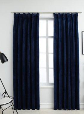 vidaXL Gordijnen verduisterend 2 st met haken 140x225 cm fluweel blauw