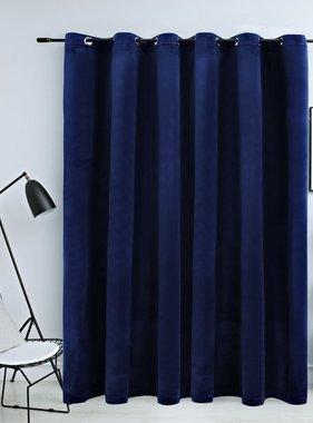 vidaXL Gordijn verduisterend met ringen 290x245 cm fluweel blauw