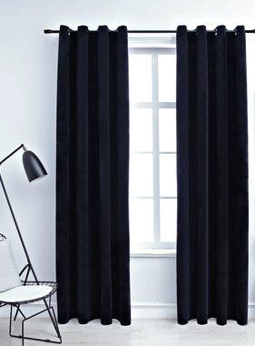 vidaXL Gordijn verduisterend met ringen 2 st 140x245 cm fluweel zwart
