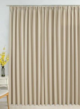 vidaXL Gordijn verduisterend met haken 290x245 cm beige
