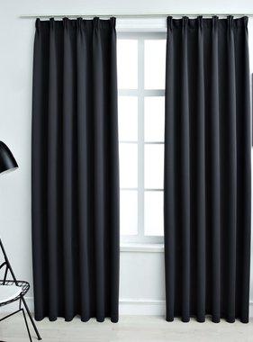 vidaXL Gordijnen verduisterend met haken 2 st 140x175 cm zwart