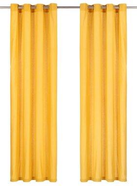 vidaXL Gordijnen met metalen ringen 2 st 140x225 cm katoen geel