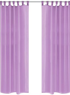 vidaXL Gordijnen voile 140x245 cm lila 2 st