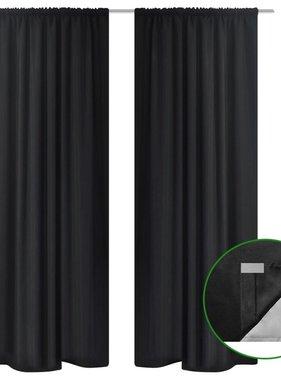 vidaXL Gordijnen verduisterend 2 st dubbellaags 140x245 cm zwart