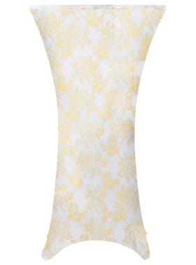 vidaXL 2 st Tafelhoezen stretch 60 cm wit met gouden opdruk