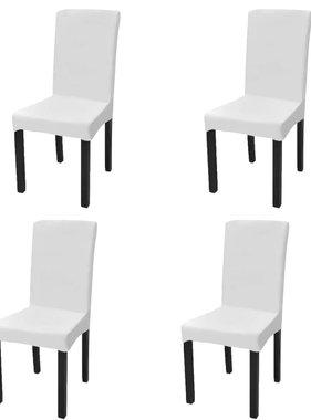 vidaXL Stoelhoes stretch recht 4 stuks wit