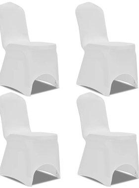 vidaXL Stoelhoes stretch 4 stuks wit