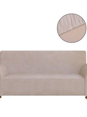 vidaXL Stretch meubelhoes voor bank beige polyester jersey