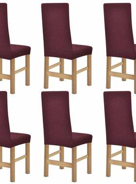 vidaXL stoelhoezen stretch 6 st bordeauxrood polyester ribstof