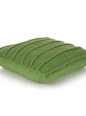 vidaXL Vloerkussen gebreid vierkant 60x60 cm katoen groen
