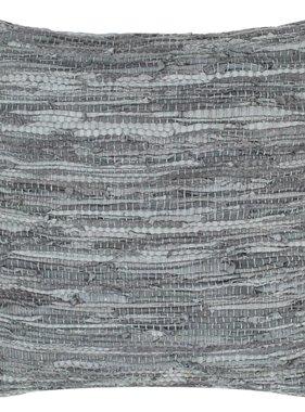 vidaXL Kussen chindi 60x60 cm leer en katoen grijs