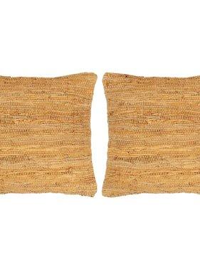 vidaXL Kussens 2 st chindi 45x45 cm leer en katoen tan
