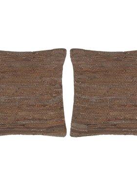 vidaXL Kussens 2 st chindi 45x45 cm leer en katoen bruin