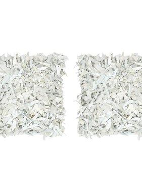 vidaXL Kussens 2 st shaggy hoogpolig 45x45 cm leer katoen lichtgrijs