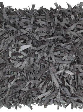 vidaXL Kussen shaggy hoogpolig 60x60 cm leer en katoen grijs