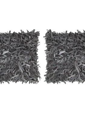 vidaXL Kussens 2 st shaggy hoogpolig 45x45 cm leer en katoen grijs
