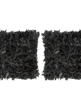 vidaXL Kussens 2 st shaggy hoogpolig 45x45 cm leer en katoen zwart