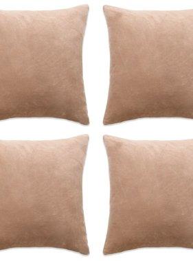vidaXL Sierkussenhoezen 40x40 cm velours beige 4 st